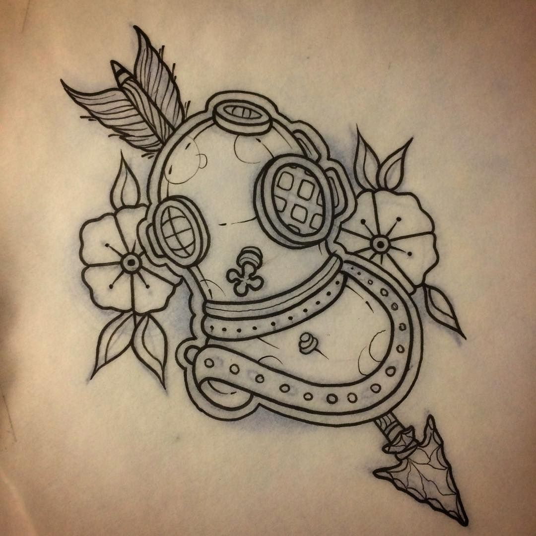Up For Grabs Scuba Helmet Diving Tattoo The Sea