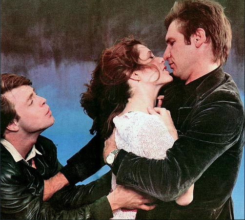 Harrison Ford pushing away Mark Hamill as he's trying to get some action from Carrie Fisher.