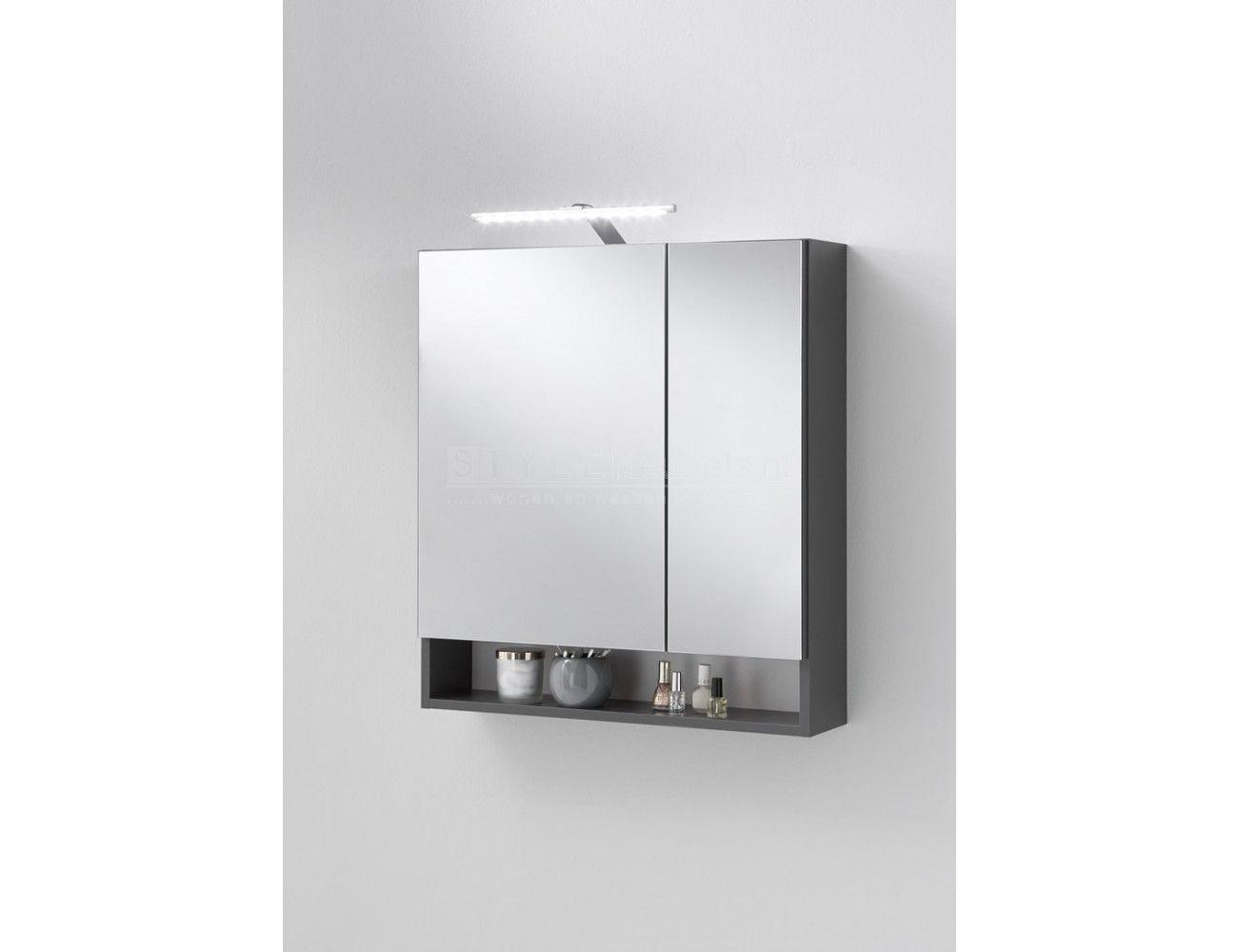 Badkamer spiegelkast nepal 5 in antraciet voor badkamerspullen ...