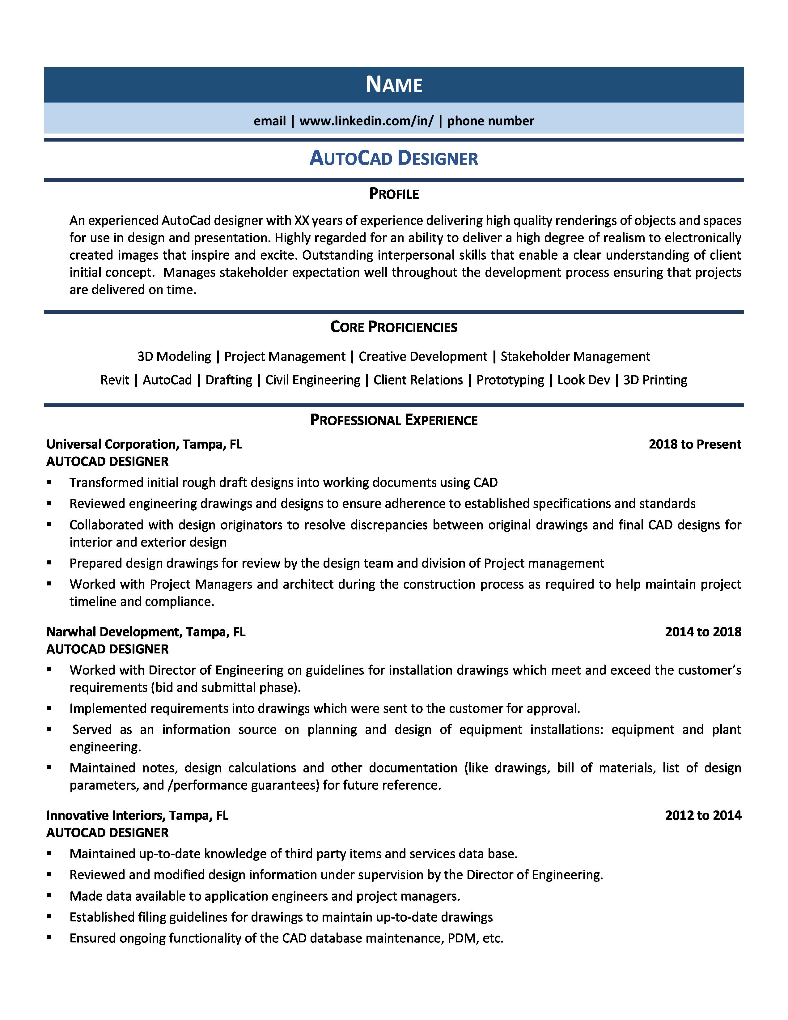 Autocad Designer Resume Samples Examples For 2020 Resume Design Resume Examples Professional Resume Examples