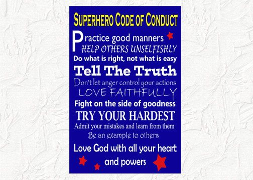 Superhero Code of Conduct Printable Wall Art on Etsy, $600 - code of conduct example
