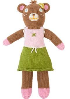 Blabla Fair Trade Hand-Knit Bear Doll, Girl Bernice