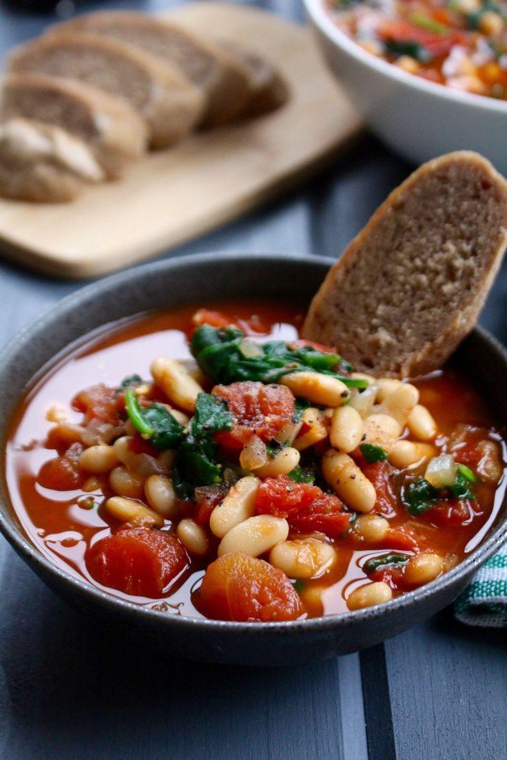 Garlic, Tomato, & Balsamic White Bean Soup Recipe Food