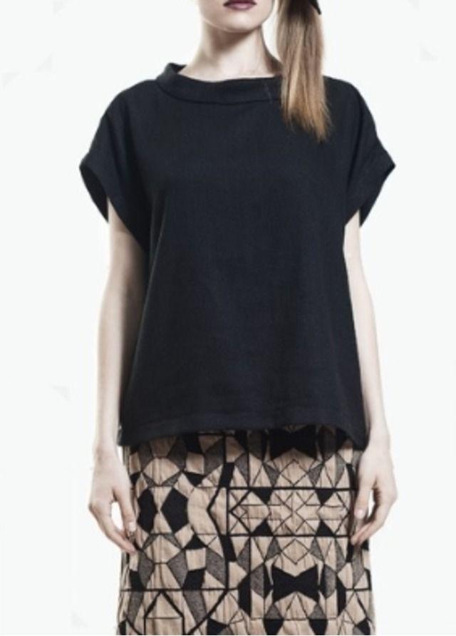 Woven silk Black tee | Tees #fashion #style #tops #tee