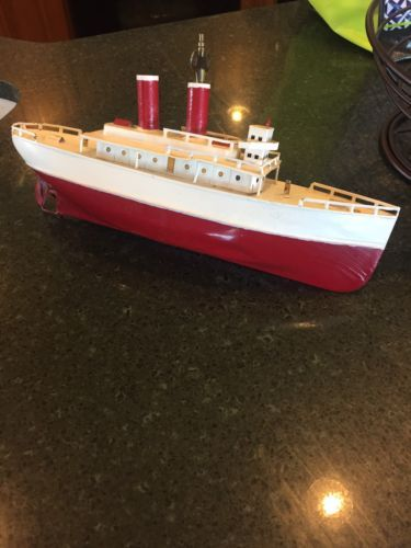 Early Ives German Tin Toy Boat Ship Wind-up Clockwork 13\
