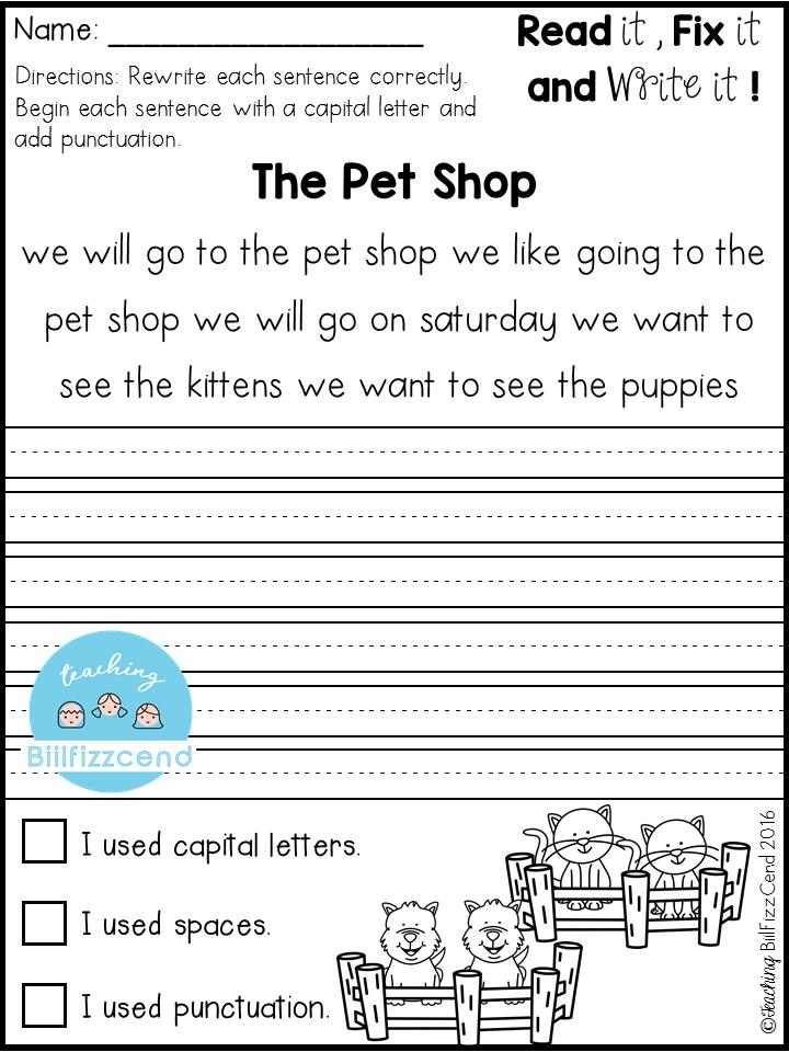free fix it up sentences classroom kindergarten writing first grade writing 1st grade writing. Black Bedroom Furniture Sets. Home Design Ideas