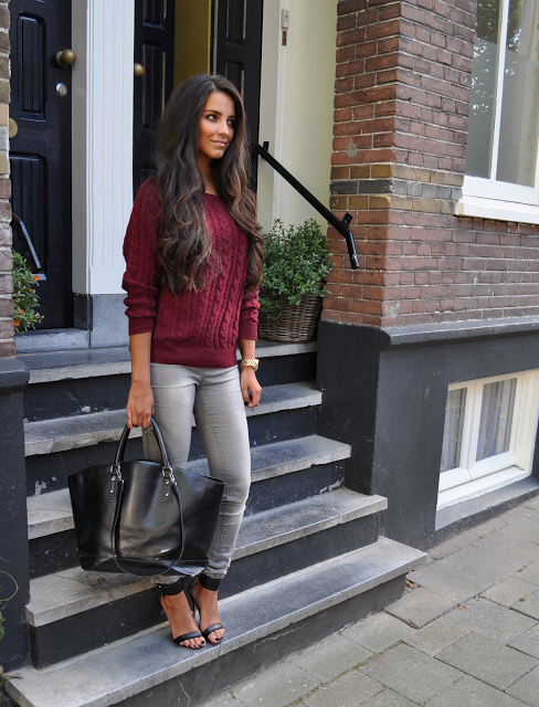 Simple yet chic! Burgundy cable sweater, grey jeans and black heels with black purse!