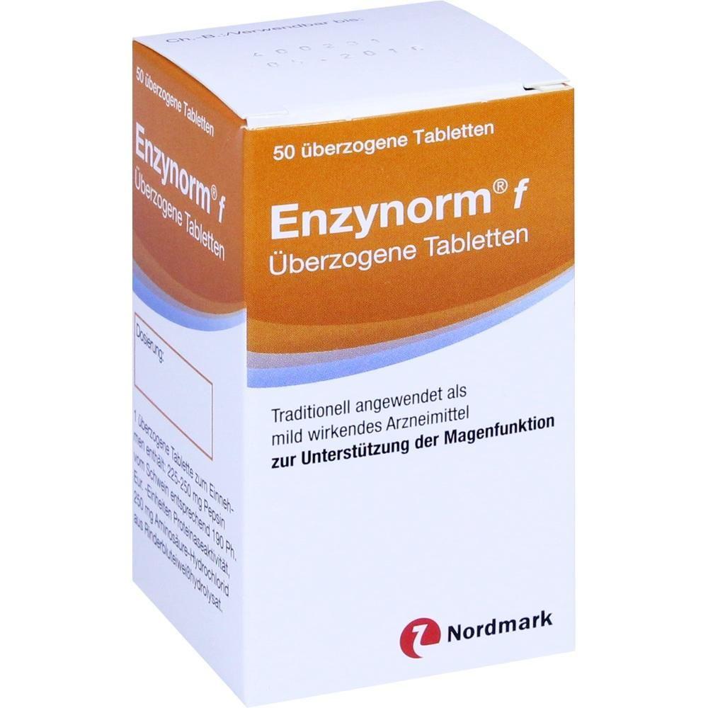 ENZYNORM f Tabletten bei Magenbeschwerden:   Packungsinhalt: 50 St Überzogene Tabletten PZN: 03843176 Hersteller: NORDMARK Arzneimittel…