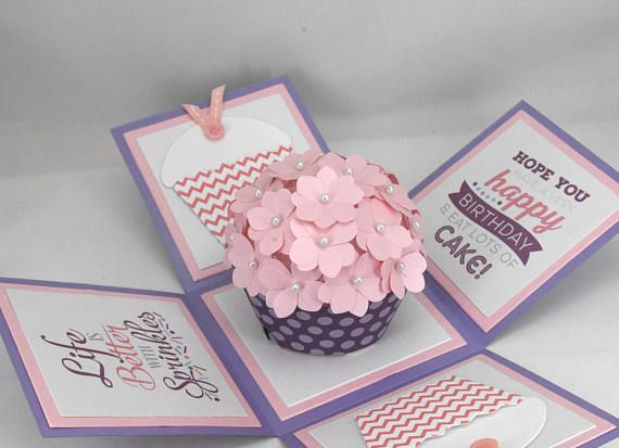 3d Purple And Pink Cupcake Birthday Card Explosion Box Card Cupcake Birthday Cards Birthday Explosion Box Exploding Box Card