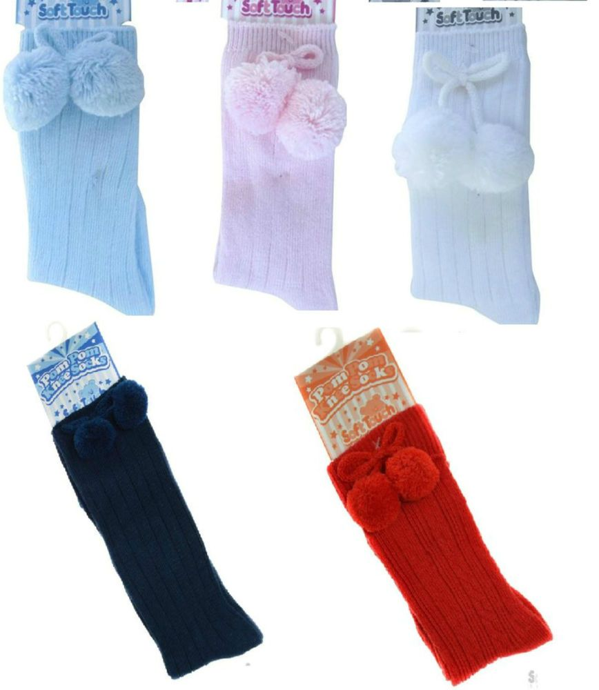 Pink Baby Kids Pretty Bow Spanish Knee Socks Frilly Infant Girls Socks