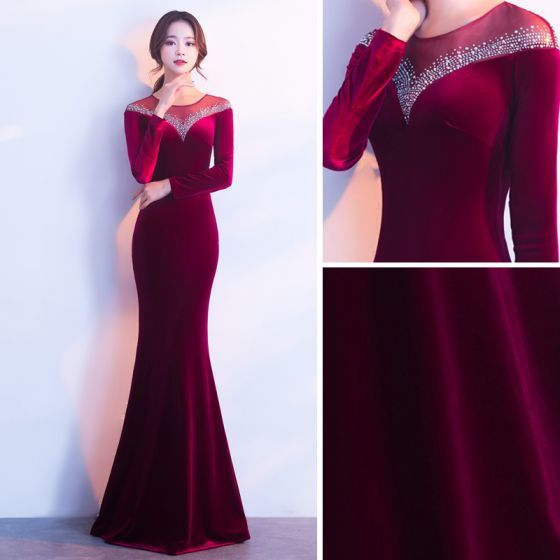 Modern / Fashion Burgundy Suede Evening Dresses 2017 Trumpet / Mermaid Scoop Neck Long Sleeve Beading Rhinestone Floor-Length / Long Pierced Formal Dresses