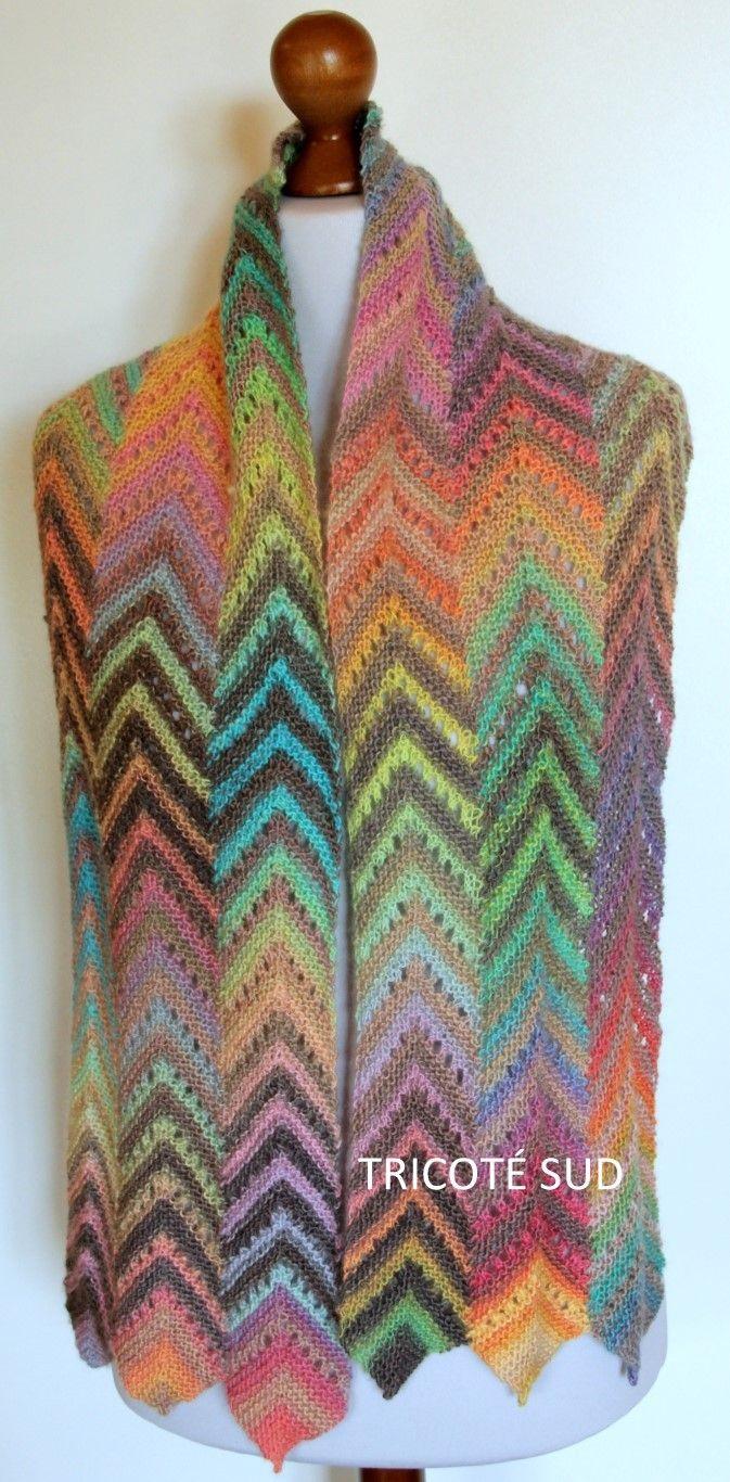 Kit écharpe Angéline tricotée en Mille Colori Baby de Lang Yarns - Kits  tricot Kits tricot femme - Tricoté Sud 5bde37be100