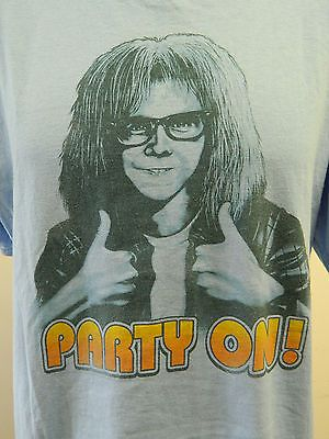 For Sale click picture to purchase SNL Large Saturday Night Live Wayne's World Movie Party On! Garth Blue Tee Dana carved comedy thumbs up rock & roll funny t-shirt