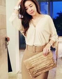 Beige V-Neck Slouch Blouse with Back Pleats