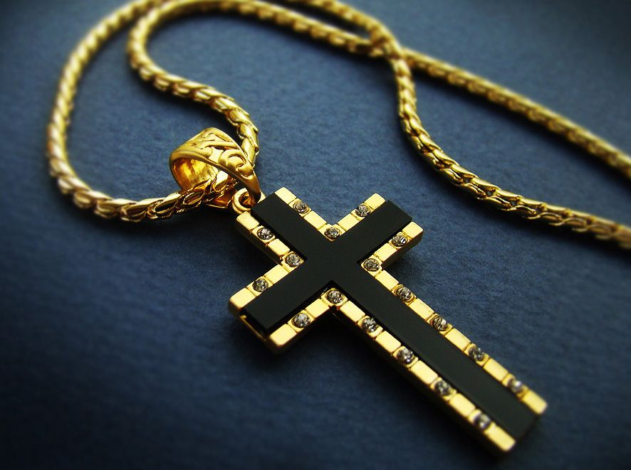 157 mens cross pendant necklace 18k gold plated mens black onyx 157 mens cross pendant necklace 18k gold plated mens black onyx cross chain necklace cubic aloadofball Images