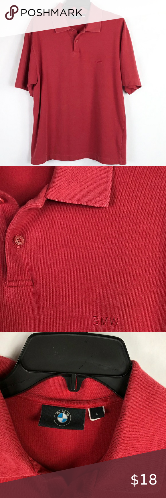 Bmw Red Polo Shirt Men S Size Large Red Polo Shirt Red Polo Shirt Mens Mens Polo Shirts