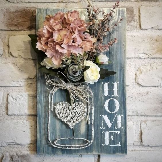 Photo of Home Sign Mason Jar String Art #stringart #masonjar #decorhomeideas #Art #beauti…