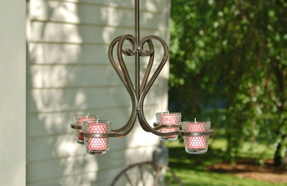 Wrought Iron Chandelier Iron Votive Candle Chandelier 4 Candle