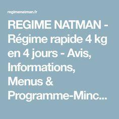 REGIME NATMAN - Régime rapide 4 kg en 4 jours - Avis ...