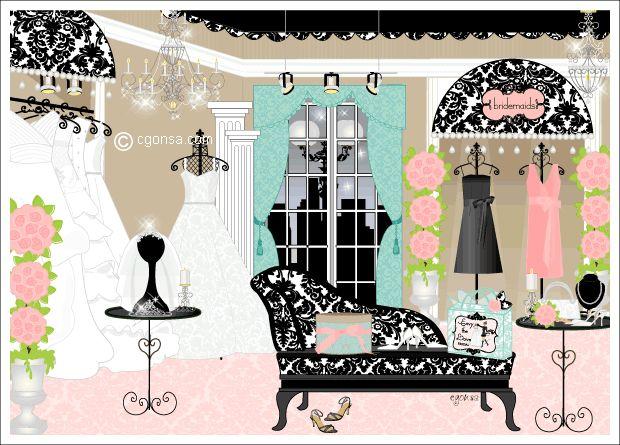 Bridal Boutique Interior Design Damask Wedding Boutique Illustration Wedding Dresses