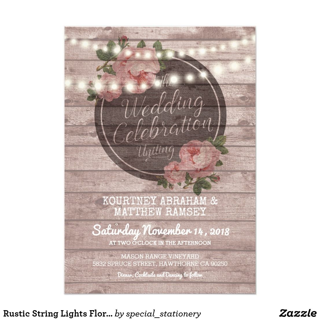 Wedding decorations with lights november 2018 Rustic String Lights Floral Wedding Invitation  Floral wedding