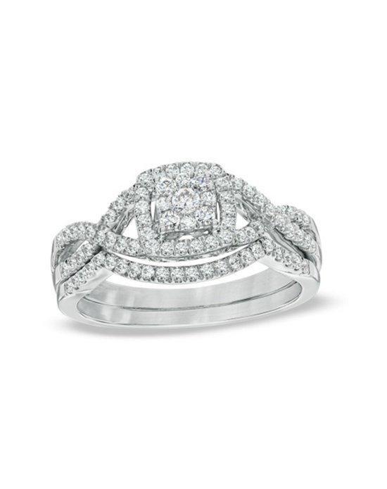 Zales 1 2 Ct T W Diamond Cer Twist Shank Bridal Set In 10k White
