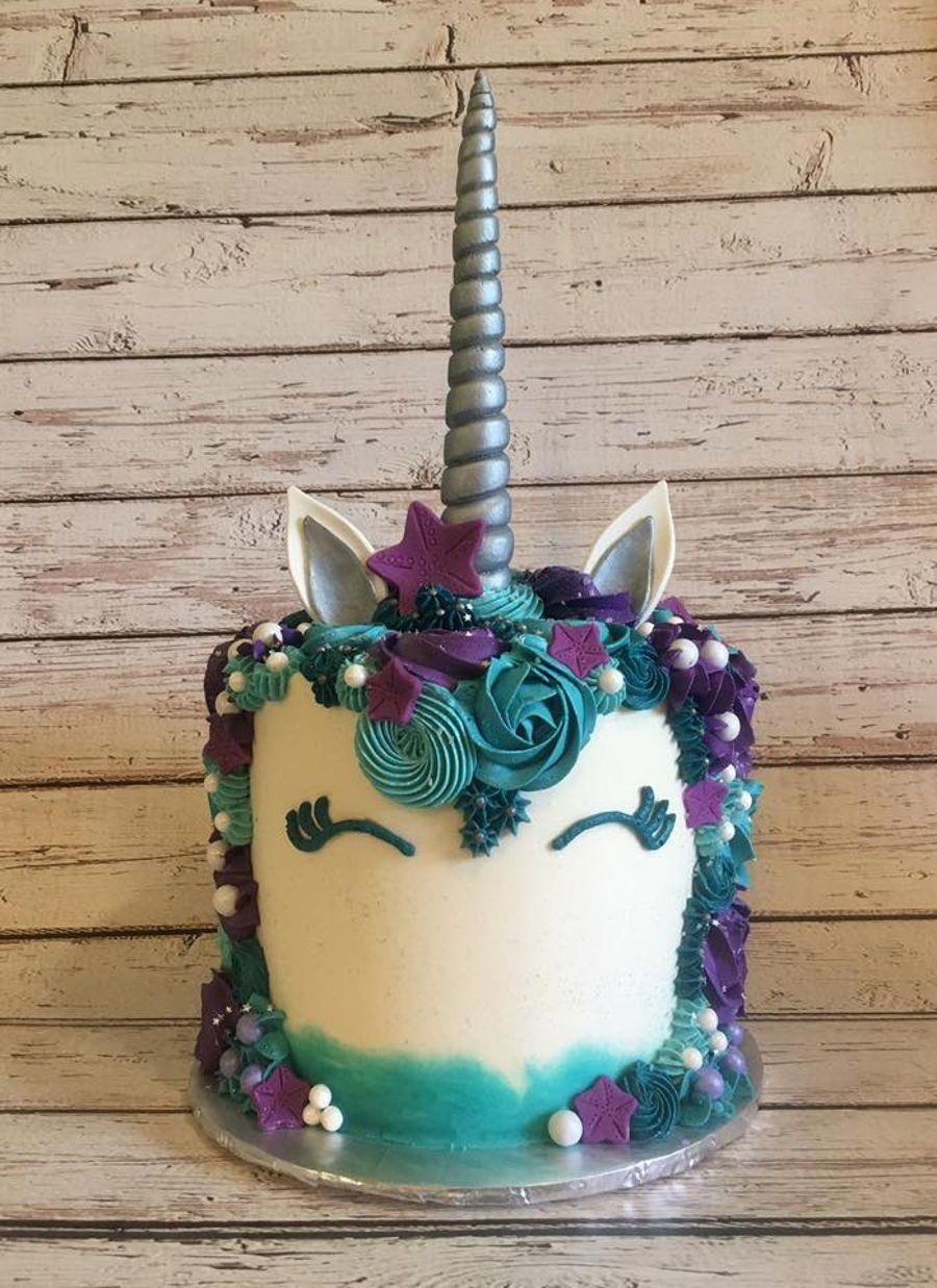 Mermaid Colored Unicorn Cake Just finished this beauty today