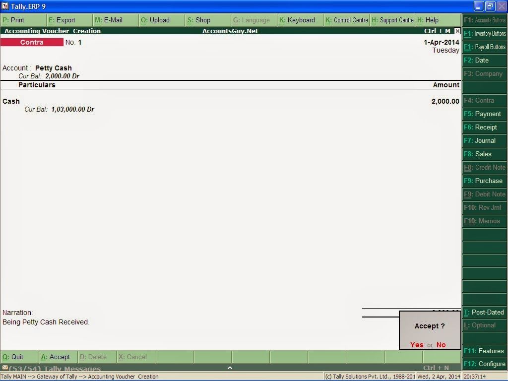 How To Record Petty Cash Received In Tally Erp 9 In Tally Erp 9