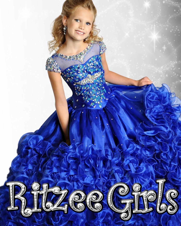 sheer sleeves ball gown little girls pageant dresses custom