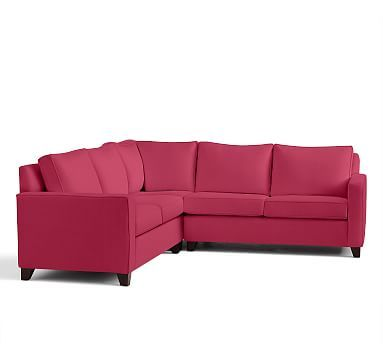 Cameron Square Arm Upholstered 3-Piece L-Shaped Corner Sectional, Polyester Wrapped Cushions, Linen Blend Pink Magenta
