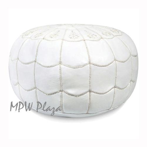White Pouf Ottoman Pouf Snow White Full Arch Moroccan Leather  Moroccan Poufsottomans