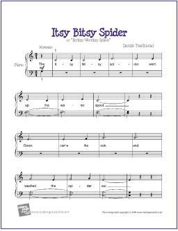 Itsy Bitsy Spider With Images Sheet Music Beginner Piano