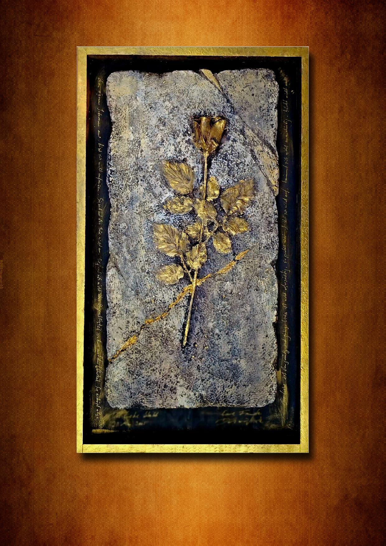 acryl art collage dirk neeridsch gold holz kunst malerei. Black Bedroom Furniture Sets. Home Design Ideas