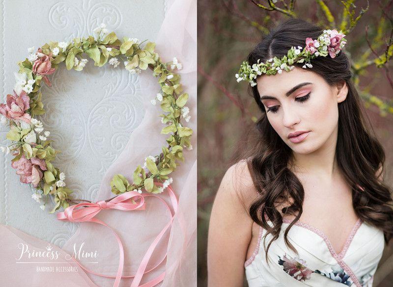 Haarschmuck Kopfputz Blumenkranz Boho Hochzeit Blumen