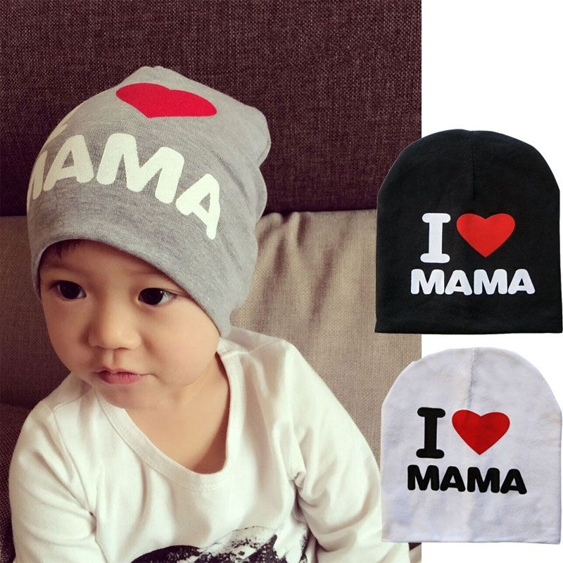 Spring Autumn Baby Knitted Warm Cotton Beanie Hat For Toddler Baby Kids Girl  Boy I LOVE PAPA MAMA Print Baby Hats 3281a3b1a17c