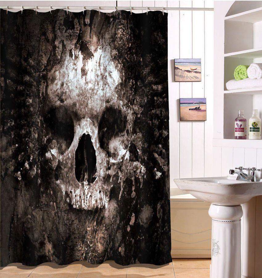 Rotten Gothic Sugar Skull Shower Curtain Waterproof Fabric Bath Decor Hooks Set Skull With Images Sugar Skull Shower Curtain Skull Shower Curtain Shower Curtain Polyester