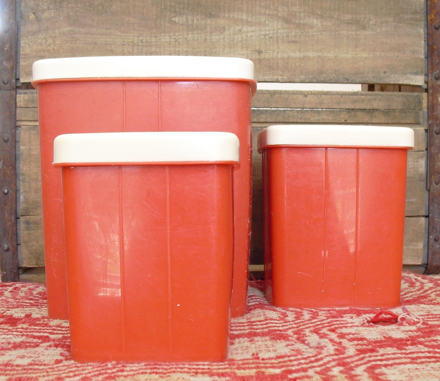 vintage red plastic square nesting canister set red with white