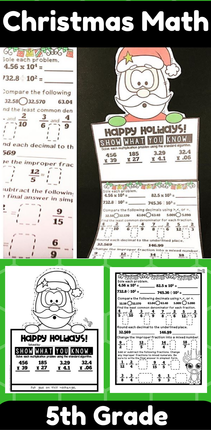 5th Grade Christmas Math Review: \