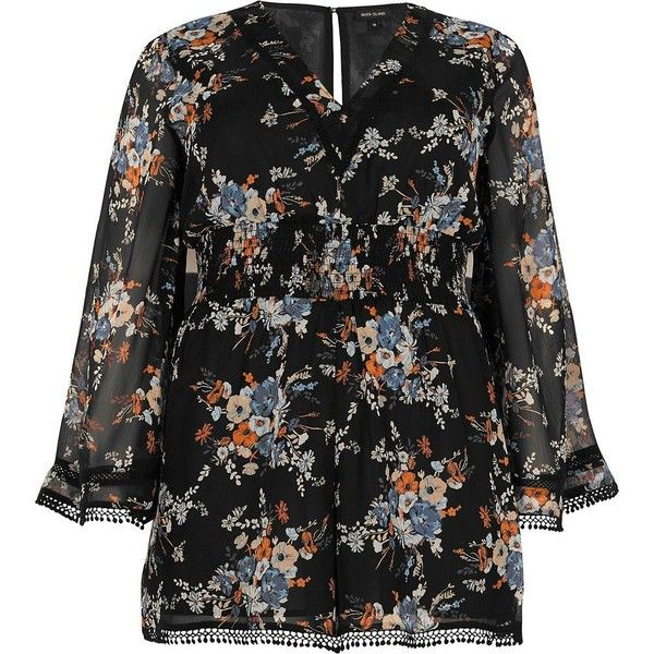 83c07552e4a76 River Island Plus black floral kimono sleeve romper ( 30) ❤ liked on  Polyvore featuring jumpsuits