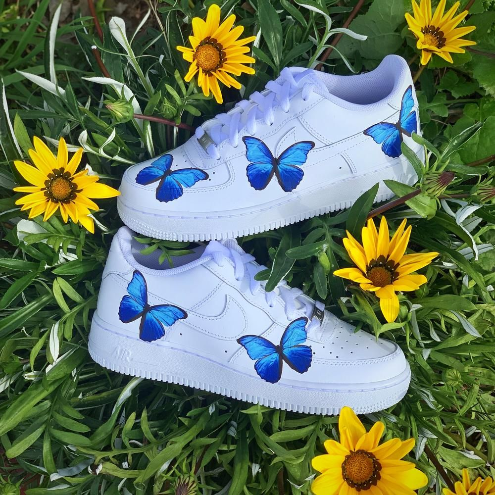 Blue Butterfly AF1 Butterfly shoes, Aesthetic shoes