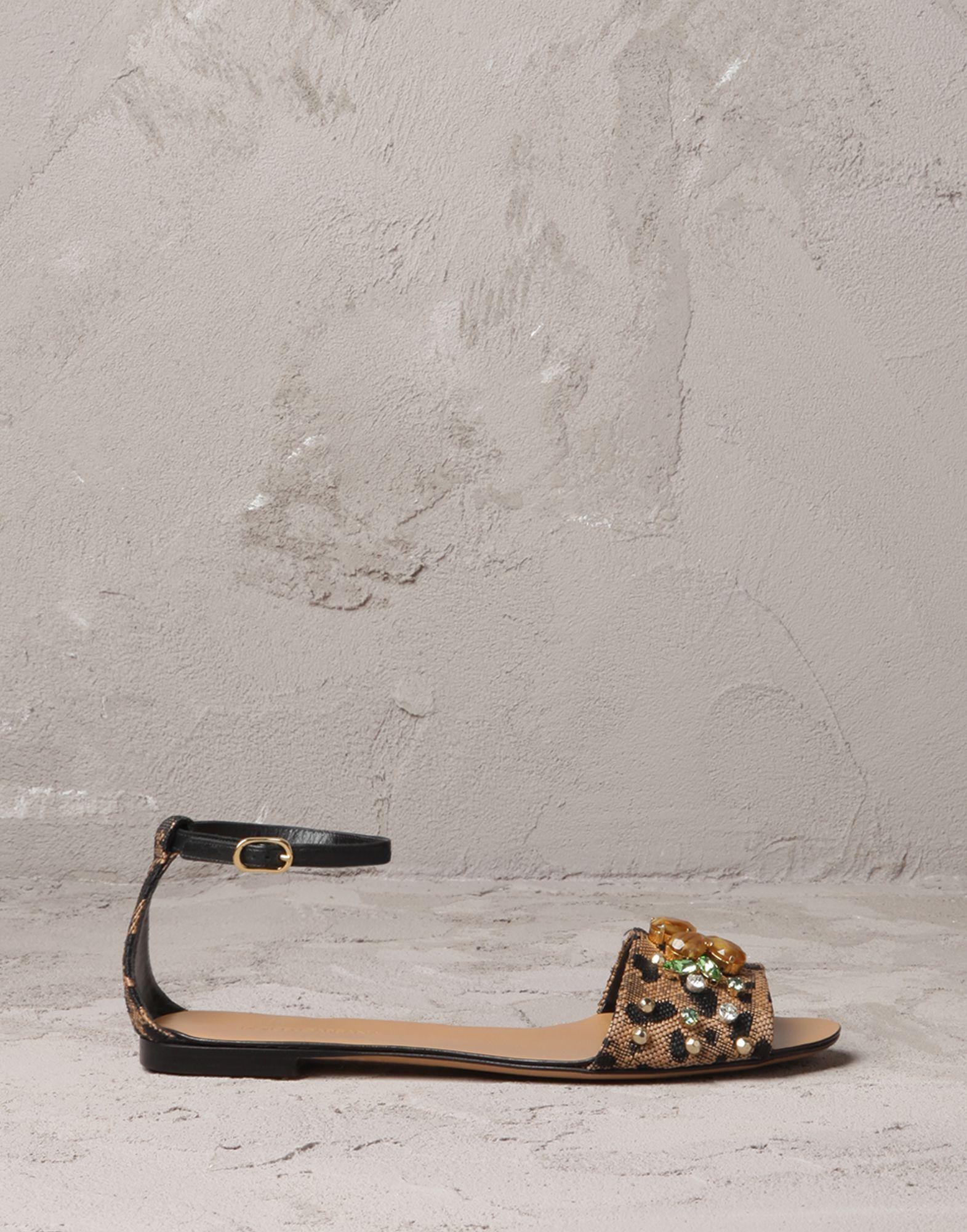 589071ec9 Dolce   Gabbana Raffia Leopard Print Sandal with gems and embroidery ...