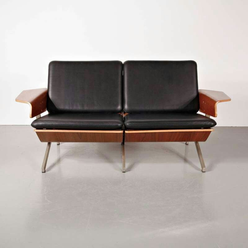 Rare Cornelis Zitman Two-Seat Leather Sofa, 1964 Furniture - design sofa moderne sitzmobel italien