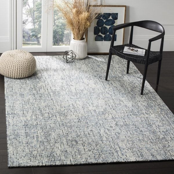 Safavieh Handmade Modern Abstract Blue Charcoal Wool Rug 6 X 9 Dining Room