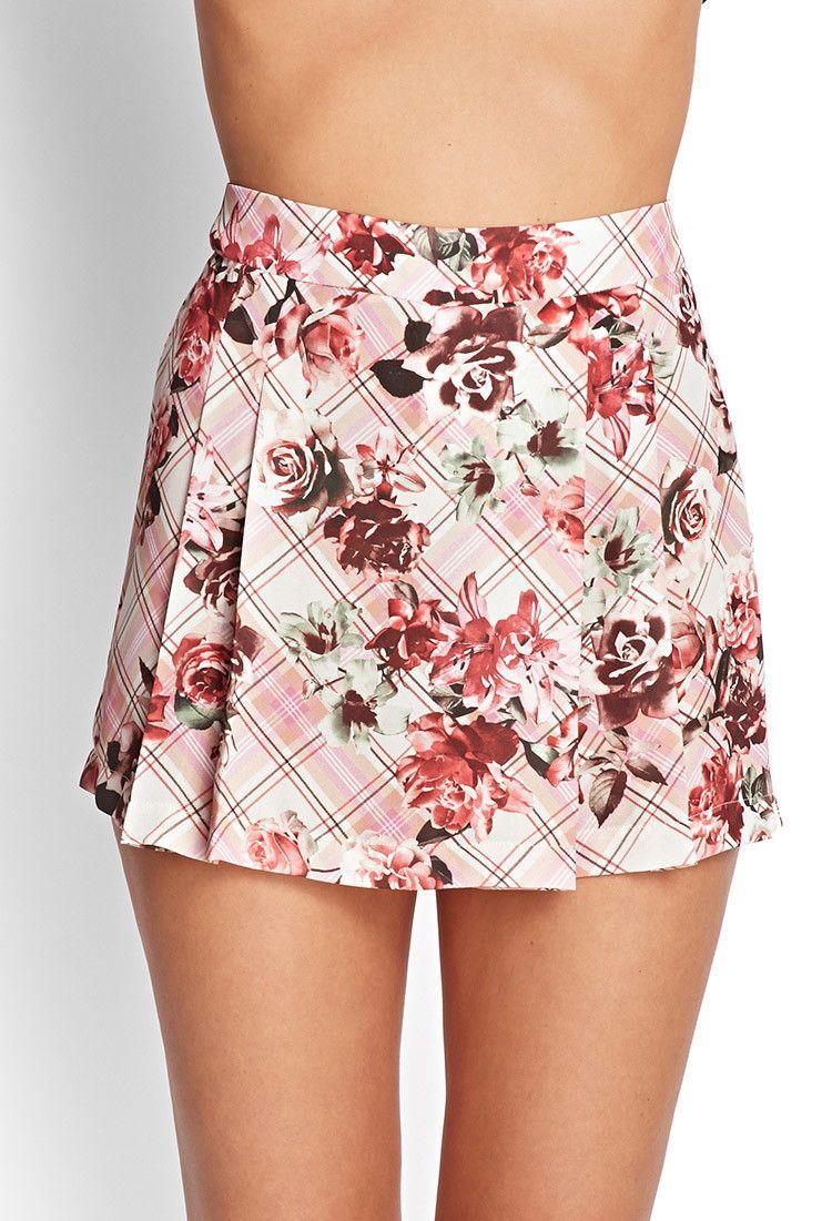 Checkered Floral Skort - Shorts - 2000068443 - Forever 21 UK