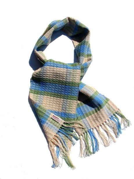 Handwoven Cotton Winter Scarf by KohnDesigns on Etsy
