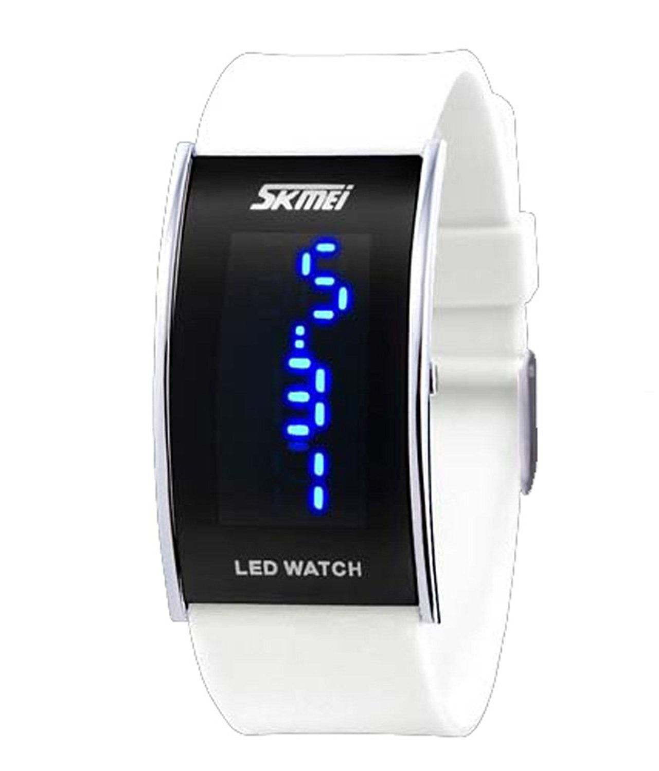 Fanmis Unisex Blue LED Digital Jelly Mode White Silicone Band Quartz Movement Wrist Watch *** For more information, visit image link.