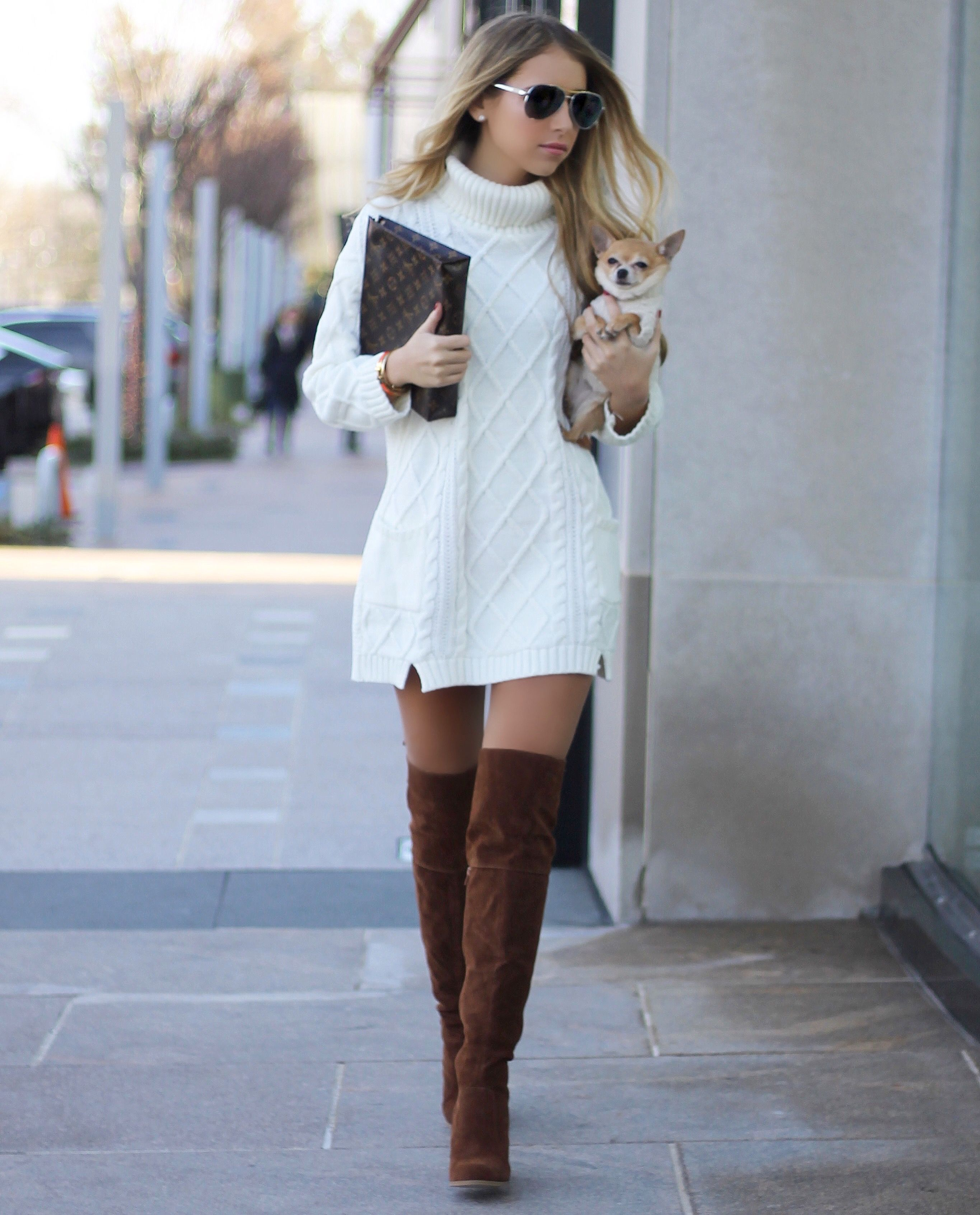Sweater Dress Over The Knee Boots Style It With Trix Fashion Trend Winter Fashion Outfits Fashion Cable Knit Sweater Dress [ 3385 x 2730 Pixel ]
