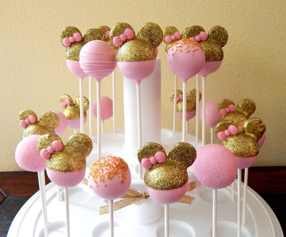 pink gold minnie mouse cake pops kid themed cake pops pinterest geburtstag dekoration. Black Bedroom Furniture Sets. Home Design Ideas