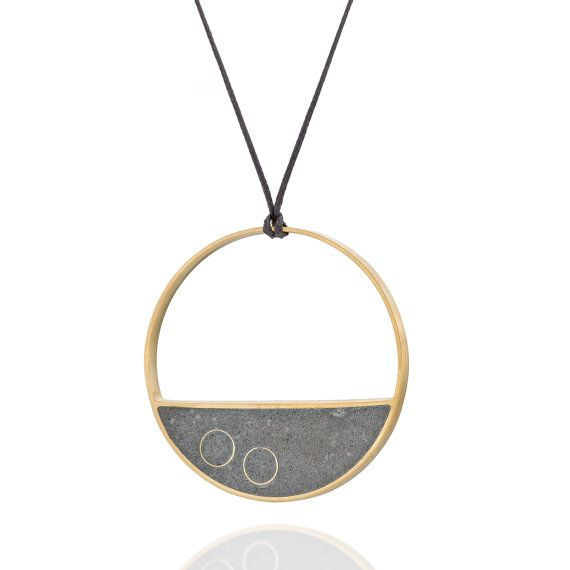 Concrete necklace round concrete and gold plated brass pendant on a large concrete balance necklace a long minimal circular statement necklace made of gold geometric jewelrybrass pendanthandmade aloadofball Images