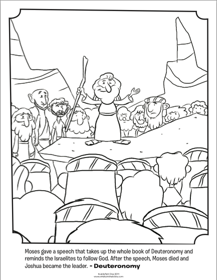 kids coloring page from what 39 s in the bible featuring moses giving a speech from deuteronomy